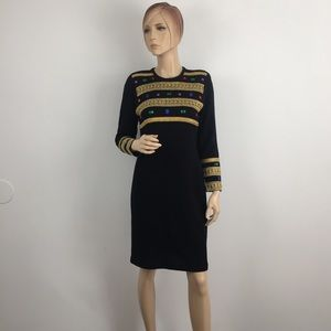 Vintage Liz Claiborne Embellished Knit Dress Small